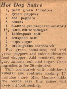Recipe For Hot Dog Sauce – Vintage Clipping Relish Recipes, Canning Recipes, Chili Recipes, Sauce Recipes, Hot Dog Recipes, Old Recipes, Retro Recipes, Vintage Recipes, Recipes