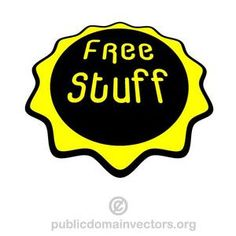 Vector graphics of a yellow sticker with text