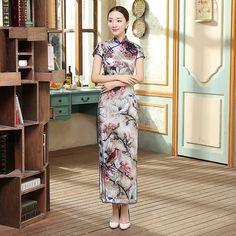 Long length Silk Fabric Cheongsam Qipao Chinese dress CZ0007-01