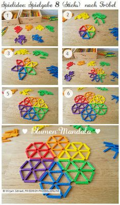 Anleitung für ein Blumen-Mandala mit Spielgaben! Spielidee für Spielgabe 8 (Legespiel geometrische Formen) nach Froebel (Sticks) aus lauter kleinen farbigen Stäben - zum Nachlegen.