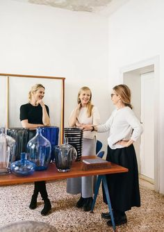 In the Yali shop, Servane chats with the glassware company's founder Marie-Rose Kahane (right) and Felicity Menadue. Try On Sunglasses, Theater Plan, Biggest Cruise Ship, Venice House, Piano Recital, Glass Art Design, Student House, Terrazzo Flooring, Grand Canal