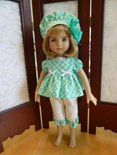"""Summertime Teal Outfit for 13"""" Effner Little Darling Doll by Apple"""