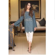 Image may contain: 1 person, standing and shoes Simple Pakistani Dresses, Pakistani Fashion Casual, Pakistani Dress Design, Pakistani Outfits, Indian Outfits, Tunic Designs, Kurta Designs Women, Dress Designs, Stylish Dresses For Girls