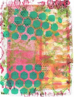 Gelli Plate and drywall tape Art Journal076