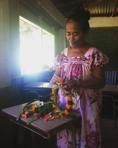 A traditional style on Tol island Making a mwarmwar or flower necklace for visters, Federated States of Micronesia. Federated States Of Micronesia, Island Nations, Cultural Diversity, Pacific Ocean, Flower Necklace, Teacher, Culture, Traditional, Professor