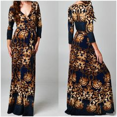 Royal Empire Navy Damask Faux Wrap Maxi Dress.  Navy & Gold accents. Order yours today at Shannasthreads.com