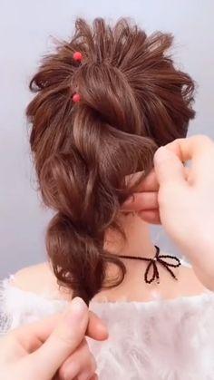 braided bun for medium length hair, beautiful wedding hairstyles - stylish hairstyles for long hair - school hairstyles for long hair easy - hairstyle tutorials videos - long hairstyles . Messy Bun Hairstyles, Work Hairstyles, Stylish Hairstyles, Wedding Hairstyles, School Hairstyles, Party Hairstyles, 1800s Hairstyles, Grecian Hairstyles, No Heat Hairstyles