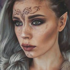 Some of you wanted to see me as my Inquisitor from Dragon Age that I posted yesterday! It was just a quickie and the tattoos didn't turned awful but if I make a tutorial some day I promise I will do it better, and make real elf ears as well<<< ! Cosplay Elf, Cosplay Makeup, Looks Halloween, Halloween Face Makeup, Dragon Age Elf, Elven Makeup, Diy Maquillage, Makeup Fx, Drugstore Makeup