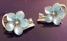 "Amazing Vintage Coro Clip on Blue Flower w Crystal Center 1"" | eBay"