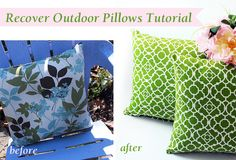 Pretty Handy Girl - How to Recover Outdoor Pillows and a Mini Patio Makeover Patio Furniture Makeover, Patio Makeover, Diy Craft Projects, Sewing Projects, Crafts, House Projects, Outdoor Fun, Outdoor Decor, Outdoor Ideas