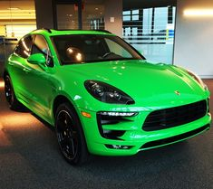 """""""Go bold or go home? We think so. Designed by #PorscheExclusive, this new #Macan Turbo in the color of Viper Green is not for the faint of heart. If you…"""""""