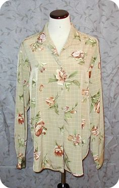 WOMENS Top Blouse Size 14 EVAN PICONE Tan Brown Floral Button Down Long Sleeve  #EvanPicone #Blouse #EveningOccasionCasualCareer