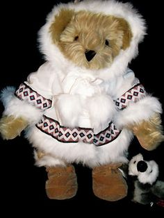 "Vermont Teddy Bear 15"" Arctic Bear Prem Fur Biv Eyes Jointed New Arctic Outfit 