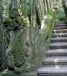 Monkey Forest, Bali: Carved komodo dragons help guard the springs.