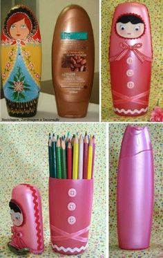- Bottle Crafts - tutos recup How cute! re-purpose, reuse, recycle hair shampoo, conditioner product bottles to pencil case, tall-accessories holder. Creative Crafts, Kids Crafts, Easy Crafts, Decor Crafts, Plastic Bottle Crafts, Recycle Plastic Bottles, Plastic Recycling, Plastic Craft, Water Bottle Crafts