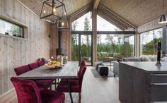 Interiør - Sjemmedalhytta Cabins In The Woods, House In The Woods, Scandinavian Cabin, Contemporary Garden Rooms, Italy House, Mountain Cottage, Small House Plans, Beach House, Baby 2017