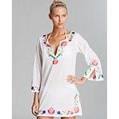 Debbie Katz Fiesta Embroidered Cotton Tunic Swim Cover Up