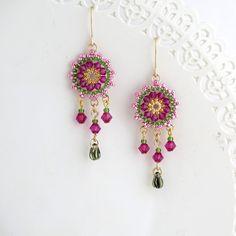Beaded dangle earrings, Swarovski chandelier earring, Fuchsia earrings, Colorful chandelier earring, pink gold earrings, boho dangle earring by LioraBJewelry on Etsy
