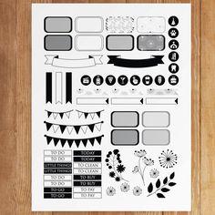 Black and White Wildflower Printable Planner by PrintThemAllStudio