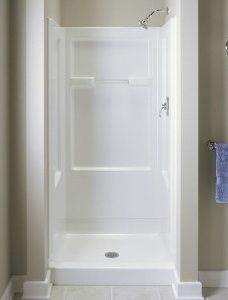 32 Inch Corner Shower Stall SECTOR CLEAR GLASS ENCLOSURE BACKWALL