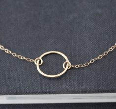 Gold Ring Necklace Eternity Ring Necklace Gold by TheSilverWren, $27.00