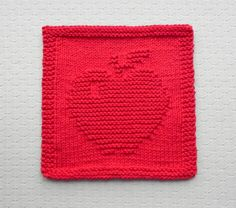 Red APPLE Knit Dishcloth 100% Cotton . Hand by AuntSusansCloset