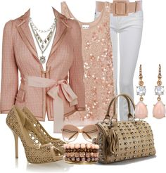 Glamorous & romantic pink & tan outfit <3