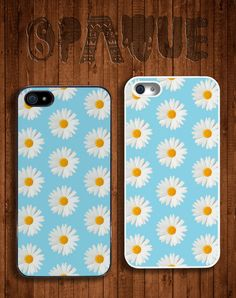 Blue Daisy Floral Apple iPhone 5 5s & 4 4s Durable Hard Case - In Multiple Colours - Hipster Indie Grunge Vintage Tropical Summer Tumblr