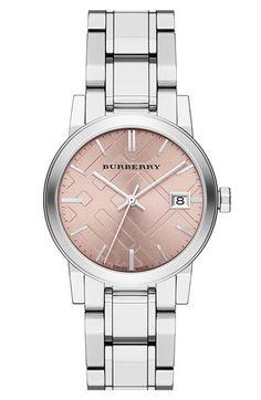 Burberry Medium Check Stamped Bracelet Watch, 34mm | Nordstrom