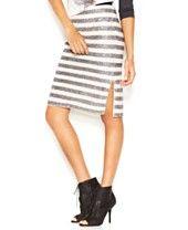 RACHEL Rachel Roy Sequin-Striped Pencil Skirt