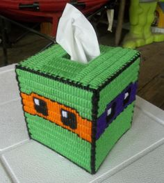 Turtles/Ninja Plastic Canvas Tissue Box Cover