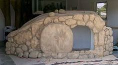A church's Easter tomb backdrop, carved out of Styrofoam with Hot Wire Foam Factory tools. Pieces were repurposed for Christmas and VBS, too! Design Set, Floral Design, Jesus Tomb, Easter Backdrops, Easter Play, Foam Factory, Church Stage Design, The Good Shepherd, Sunday School