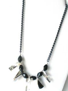 Kette, Halskette, Statementkette in schwarz von Modeschmuckstübchen Andrea auf DaWanda.com Arrow Necklace, Etsy, Link, Party, Silver, Jewelry, Fashion, La Mode, Neck Chain