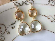 Champagne Peach Earrings Crystal Blush Gold Plated by laalee