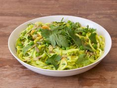 Zucchini and Carrot Noodles with Avocado, Pea & Kale Pesto