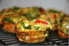 Scrambbled Egg Muffins...I made these using whole wheat flour, sausage, green onion, bell pepper and cheese....So good!    Bag them in threes and freeze them for quick breakfasts during the week!   :)