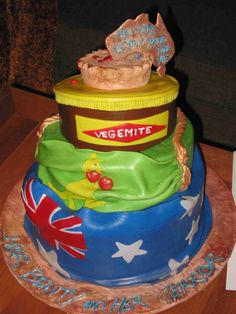 Australia day cake - omg this cake rocks! Meat pie, Vegemite, Aussie national flag and the green and gold all in one!