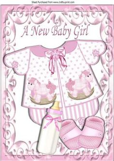 Pretty baby girls romper suit with bottle A4 on Craftsuprint - Add To Basket!