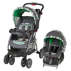"Baby Trend Encore Travel System, Stone Green   Baby Trend Encore Travel System, Stone Green The Baby Trend Encore Travel system Stroller is just what you will need for that next trip. Stroller features a large shade canopy with ""peek-a-boo"" window, covered parent tray with two deep cup holders, and a swing away child tray that accepts Baby Trend Flec-Loc Infant Car Seat. Features also include a 5-point safety harness with padded harness covers, multiple position reclining seat, a hei.."