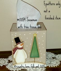 EPATTERN, 0054 Snowman with Tree Tissue box cover, painting pattern, decorative painting, digital download