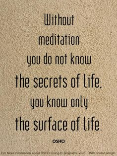 Without meditation you do not know the secrets of life, you know only the surface of life. Spiritual Wisdom, Spiritual Awakening, Yoga Quotes, Life Quotes, Quotes Quotes, Attitude Quotes, Qoutes, Mantra, Affirmations