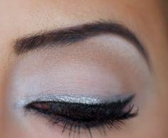 Silver Eyeliner on top of black eyeliner look