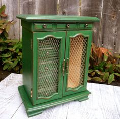Large Green SHABBY CHIC Jewelry Box / Armoire by HuckleberryVntg, $124.00