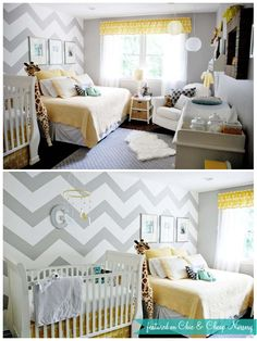 Nursery/Guest room combo (yellow/grey connecting colors)