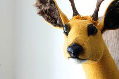 Mustard yellow Harris tweed roe buck deer trophy. Vegetarian faux taxidermy.  £235.00