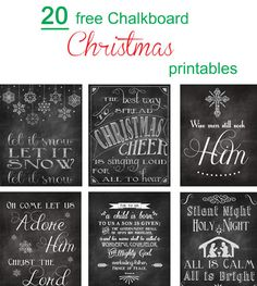 I love Christmas Printables! There's something about sprinkling cute Christmas sayings, Bible verses, and song lyrics around the house that just make my heart happy. And they always put me in the Christmas mood every time I look at them. So today, I'm rounding up twenty of my favorite holiday chalkboard printables for you to look at! Merry Christmas to you all and happy downloading! And a bonus (which is probably one of my favorites)! Don't forget to head over to the original posters website…
