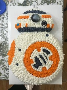 Made the BB-8 cake for my daughters' Force Awakens themed birthday party. Turned…