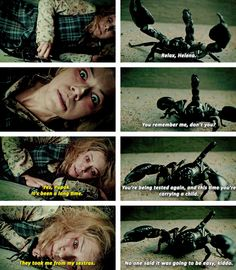 Orphan Black S3E01. It makes me really sad that Helena has a scorpion as an imaginary friend