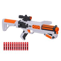 Launch into exciting Star Wars adventures with the NERF First Order Stormtrooper Deluxe Blaster! Take aim and unleash the fury of the First Order with this blaster that has a 12-dart clip to fire a dozen darts, one at a time, without reloading. Blast them fast with slam-fire action! Stabilize shots with the shoulder stock, and send the darts flying through the air up to 65 feet (20 meters). The blaster has a tactical rail and a removable scope. The Star Wars NERF First Order Stormtrooper…