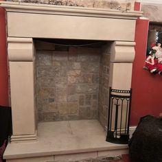 Tall French style sandstone stone fireplace surround. Stone Fireplace Surround, Natural Stone Fireplaces, French Style, Natural Stones, Home Decor, Decoration Home, Room Decor, Home Interior Design, Home Decoration